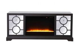 "Glenville 60"" Mirrored TV Stand with Crystal Insert Fireplace in Dark Walnut"