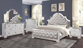 Grand Gloria Contemporary Bedroom Set in White Gray