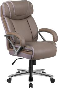 Hercules Series Big & Tall 500 lb. Rated Taupe Leather Executive Swivel Chair with Extra Wide Seat [GO-2092M-1-TP-GG]