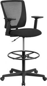 Ergonomic Mid-Back Mesh Drafting Chair with Black Fabric Seat, Adjustable Foot Ring & Adjustable Arms [GO-2100-A-GG]