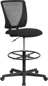 Ergonomic Mid-Back Mesh Drafting Chair with Black Fabric Seat & Adjustable Foot Ring [GO-2100-GG]