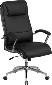 High Back Designer Black Leather Executive Swivel Chair with Chrome Base & Arms [GO-2192-BK-GG]