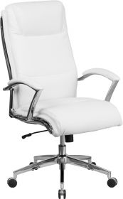 High Back Designer White Leather Executive Swivel Chair with Chrome Base & Arms [GO-2192-WH-GG]