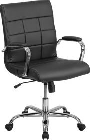 Mid-Back Black Vinyl Executive Swivel Chair with Chrome Base & Arms [GO-2240-BK-GG]