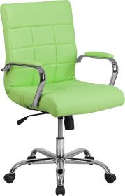 Mid-Back Green Vinyl Executive Swivel Chair with Chrome Base & Arms [GO-2240-GN-GG]