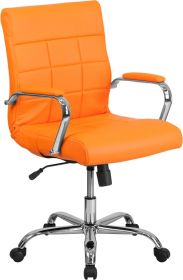 Mid-Back Orange Vinyl Executive Swivel Chair With Chrome Base & Arms [GO-2240-ORG-GG]