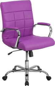 Mid-Back Purple Vinyl Executive Swivel Chair with Chrome Base & Arms [GO-2240-PUR-GG]