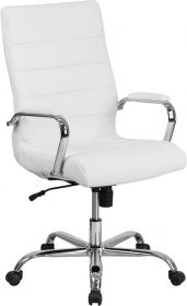 High Back White Leather Executive Swivel Chair with Chrome Base & Arms [GO-2286H-WH-GG]