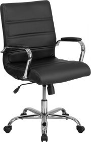 Mid-Back Black Leather Executive Swivel Chair with Chrome Base & Arms [GO-2286M-BK-GG]