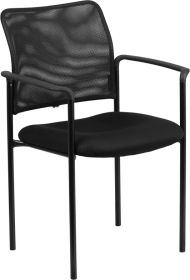 Black Mesh Comfortable Stackable Steel Side Chair with Arms [GO-516-2-GG]