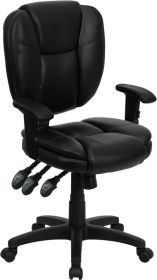 Mid-Back Black Leather Multi-Functional Ergonomic Swivel Task Chair with Height Adjustable Arms [GO-930F-BK-LEA-ARMS-GG]