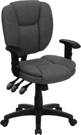 Mid-Back Gray Fabric Multi-Functional Ergonomic Swivel Task Chair with Height Adjustable Arms [GO-930F-GY-ARMS-GG]