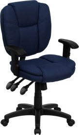 Mid-Back Navy Blue Fabric Multi-Functional Ergonomic Swivel Task Chair with Height Adjustable Arms [GO-930F-NVY-ARMS-GG]