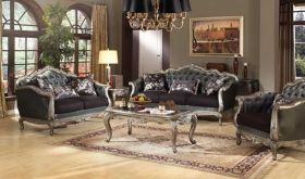 Goole Traditional Living Room Set in Silver Gray & Antique Platinum