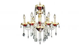 Goshen Traditional 6 Lights Hanging Fixture Chandelier in Gold & Red Finish