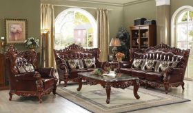 Goslar Leather Traditional Living Room Set in Cherry & Walnut