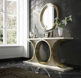Granada Modern Console Table in Ivory & Champagne