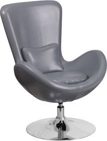 Gray Leather Egg Series Reception-Lounge-Side Chair [CH-162430-GY-LEA-GG]