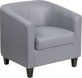 Gray Leather Office Guest Chair / Reception Chair [BT-873-GY-GG]