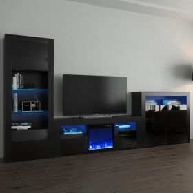 Green Modern Electric Fireplace Wall Unit Entertainment Center