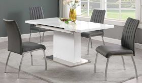 Gretna Casual Dining Room Set in Gloss White & Gray