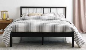 Gwen Metal Platform Bed in Brown
