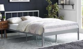 Gwen Metal Platform Bed in Gray