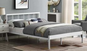 Gwen Metal Platform Bed in White