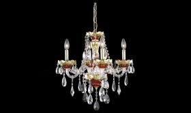 Hadley Traditional 4 Lights Hanging Fixture Chandelier in Gold & Red Finish