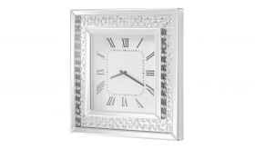 """Ham Modern 20"""" Square Wall Clock in Clear & Silver"""