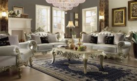 Hampshire Traditional Living Room Set in Belle Silver