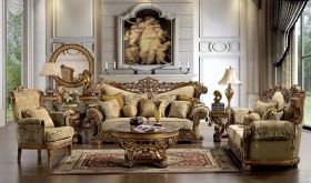 Hardee Traditional Living Room Set in Gold