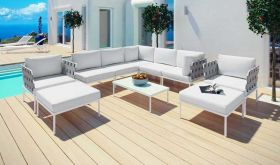 Harmony 10 Piece Outdoor Patio Aluminum Sectional Sofa Set in White White