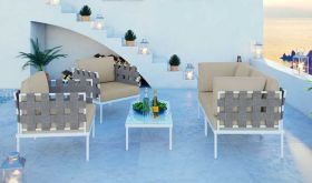 Harmony 5 Piece Outdoor Patio Aluminum Sectional Sofa Set in White Beige