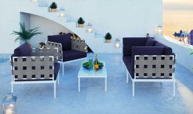 Harmony 5 Piece Outdoor Patio Aluminum Sectional Sofa Set in White Navy