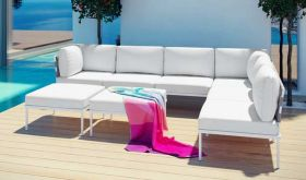 Harmony 8 Piece Outdoor Patio Aluminum Sectional Sofa Set in White White
