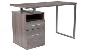 Harwood Wood Grain Computer Desk with Two Drawers & Metal Frame in Light Ash