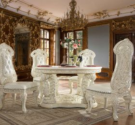 Havana Traditional Dining Room Set in White Gloss