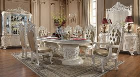 Healdsburg Traditional Dining Room Set in Antiqued White and Gold Brush
