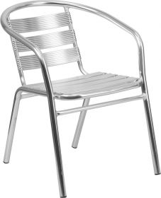 Heavy Duty Aluminum Commercial Indoor-Outdoor Restaurant Stack Chair with Triple Slat Back [TLH-1-GG]