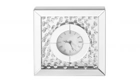 """Hebron Modern 10"""" Square Table and Wall Clock in Clear & Silver"""