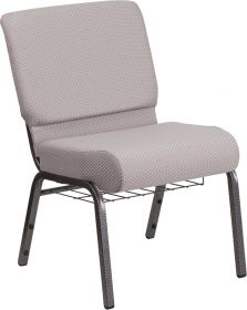HERCULES Series 21'' Wide Gray Dot Fabric Church Chair with 4'' Thick Seat, Book Rack - Silver Vein Frame [FD-CH0221-4-SV-GYDOT-BAS-GG]
