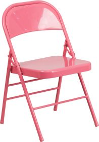 HERCULES COLORBURST Series Bubblegum Pink Triple Braced & Double Hinged Metal Folding Chair [HF3-PINK-GG]