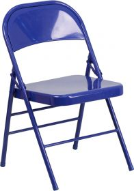 HERCULES COLORBURST Series Cobalt Blue Triple Braced & Double Hinged Metal Folding Chair [HF3-BLUE-GG]