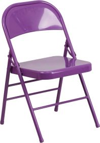 HERCULES COLORBURST Series Impulsive Purple Triple Braced & Double Hinged Metal Folding Chair [HF3-PUR-GG]