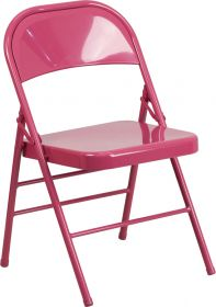 HERCULES COLORBURST Series Shockingly Fuchsia Triple Braced & Double Hinged Metal Folding Chair [HF3-FUCHSIA-GG]