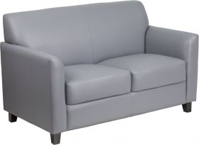 HERCULES Diplomat Series Gray Leather Loveseat [BT-827-2-GY-GG]