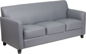 HERCULES Diplomat Series Gray Leather Sofa [BT-827-3-GY-GG]