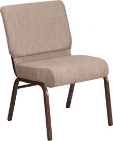 HERCULES Series 21'' Extra Wide Beige Fabric Stacking Church Chair with 4'' Thick Seat - Copper Vein Frame [FD-CH0221-4-CV-BGE1-GG]