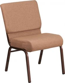 HERCULES Series 21'' Extra Wide Caramel Fabric Stacking Church Chair with 4'' Thick Seat - Copper Vein Frame [FD-CH0221-4-CV-BN-GG]